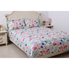 White, Pink, Blue and Multi Colour Flower and Leaves Printed Quilt with 2 Pillow Shams