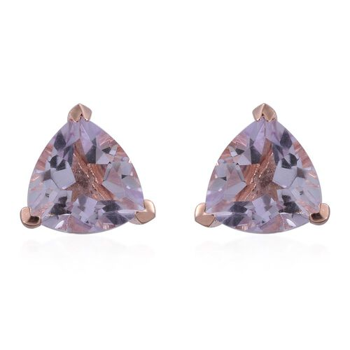 Rose De France Amethyst (Trl) Stud Earrings (with Push Back) in Rose Gold Overlay Sterling Silver 4.500 Ct.
