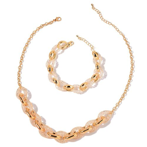 AAA White Austrian Crystal Necklace (Size 18 with 2 inch Extender) and Bracelet (Size 7 with 1.5 inch Extender) in Gold Tone