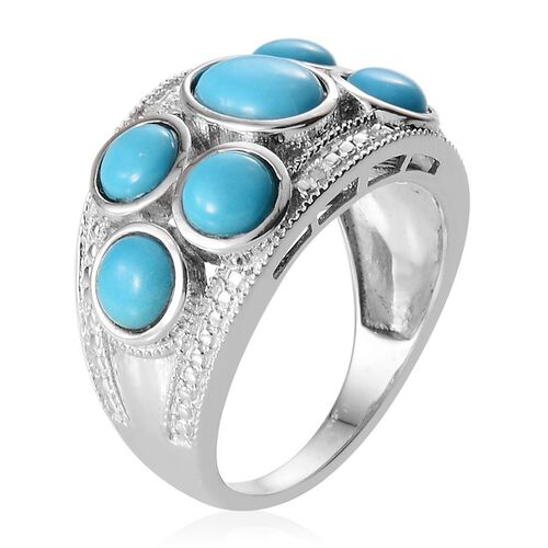 Arizona Sleeping Beauty Turquoise (Ovl 0.75 Ct), Diamond Ring in Platinum Overlay Sterling Silver 3.520 Ct.