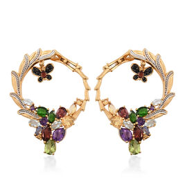 GP Hebei Peridot (Pear), Mozambique Garnet, Amethyst, Russian Diopside and Multi Gemstone Butterfly Charm Earrings (with Clasp) in 14K Gold Overlay Sterling Silver 10.500 Ct. Silver wt. 14.34 Gms.