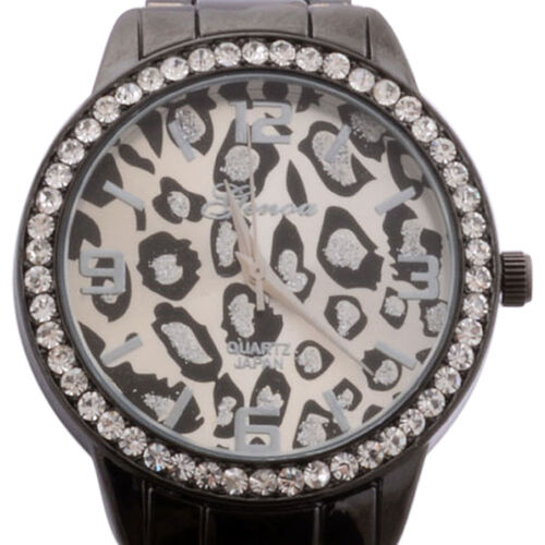 GENOA Japanese Movement Leopard Dial White Austrian Crystal Watch in ION Plated Black