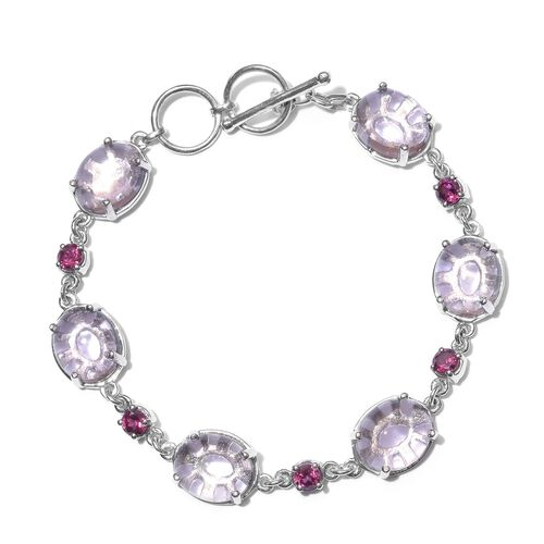 Super Auction-AAA Rose De France Amethyst (Ovl), Rhodolite Garnet Bracelet (Size 7.5) in Platinum Overlay Sterling Silver 30.500 Ct.