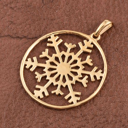 14K Gold Overlay Sterling Silver Snowflake Pendant, Silver wt 3.51 Gms.