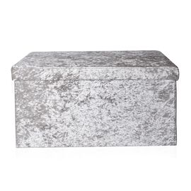 Grey Colour Stylish Crushed Velvet Foldable Large Double Seater Storage Ottoman (Size 76x37x7 Cm)