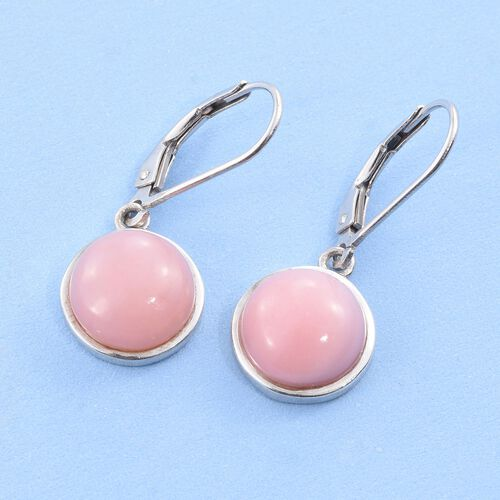 Natural Peruvian Pink Opal (Rnd) Lever Back Earrings in Platinum Overlay Sterling Silver 6.500 Ct.