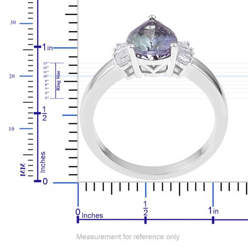 ILIANA 18K W Gold AAA Green Tanzanite (Pear 2.06 Ct), Diamond (SI/G-H) Ring 2.210 Ct.