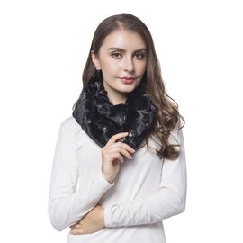 Black and Golden Colour Star Pattern Faux Fur Scarf (Size 80X20 Cm)