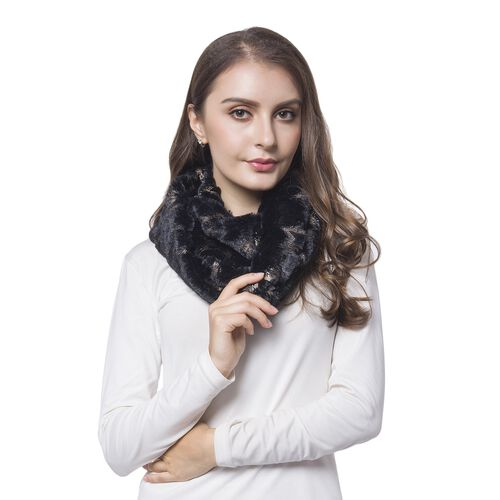 Black and Golden Colour Star Pattern Faux Fur Scarf (Size 80X20 Cm)