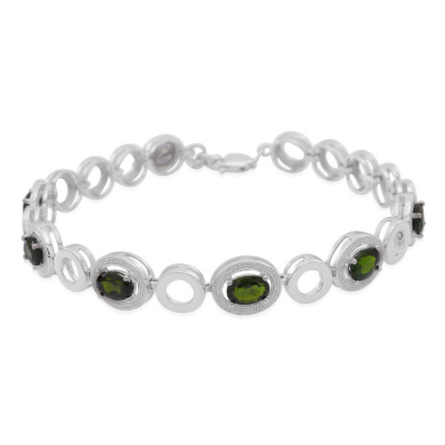 Russian Diopside (Ovl) Bracelet (Size 7.5) in Rhodium Plated Sterling Silver 5.000 Ct.