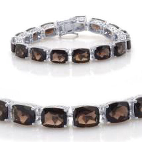 Brazilian Smoky Quartz (Cush) Bracelet in Rhodium Plated Sterling Silver (Size 7.0) 75.000 Ct.