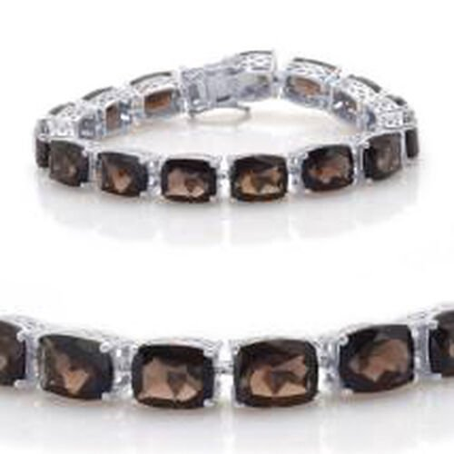 Brazilian Smoky Quartz (Cush) Bracelet in Rhodium Plated Sterling Silver (Size 7.5) 78.500 Ct.