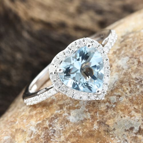 Collectors Edition-14K White Gold AA Santa Maria Aquamarine (Hrt 2.20 Ct), Diamond Ring 2.500 Ct.