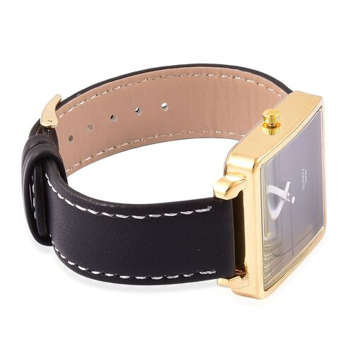 Designer Inspired- STRADA Japanese Movement Black Dial Watch in Gold Tone with Stainless Steel Back and Black Colour Strap