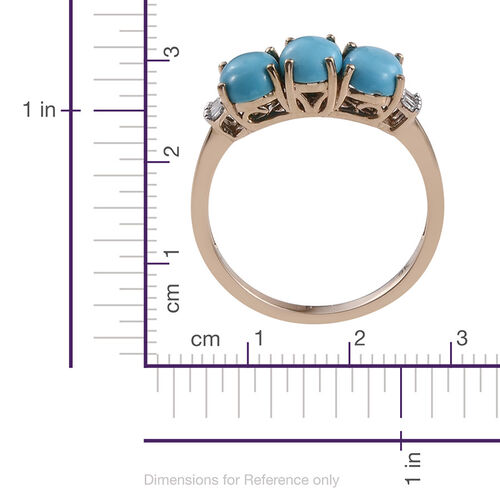 9K Y Gold AA Arizona Sleeping Beauty Turquoise (Ovl), Diamond Ring 2.250 Ct.