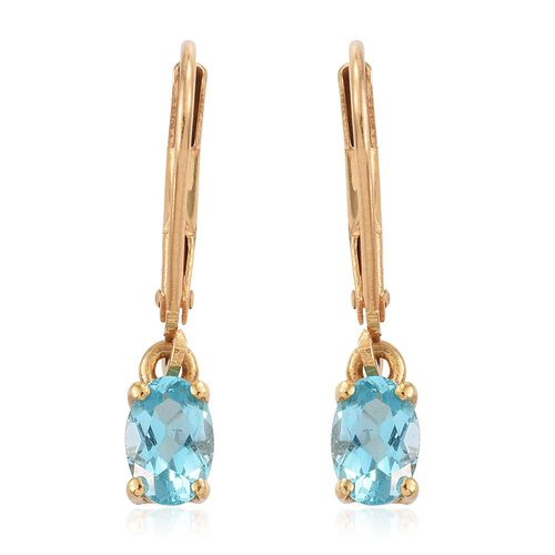 Paraiba Apatite (Ovl) Lever Back Earrings in 14K Gold Overlay Sterling Silver 1.000 Ct.