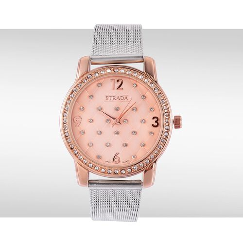 STRADA Japanese Movement White Austrian Crystal Studded Rose Dial Water Resistant Watch in Rose Gold Tone with Stainless Steel Back and Chain Strap