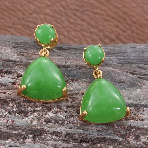 Green Jade (Trl) Earrings (with Push Back) in 14K Gold Overlay Sterling Silver 14.750 Ct.