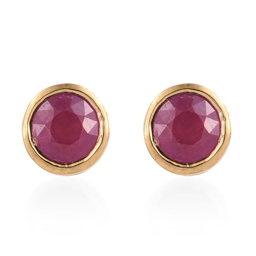 African Ruby Stud Earrings (with Push Back) in Gold Plated Silver 0.75 Ct