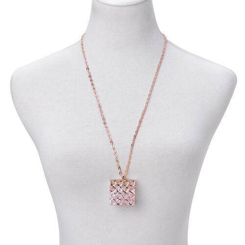 Simulated White Diamond Pendant With Chain in Rose Gold Tone
