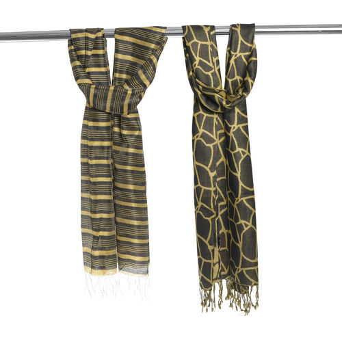 Set of 2 - Black and Gold Colour Strips Pattern Scarf (Size 180X30 Cm), Black and Golden Colour Scarf (Size 180X35 Cm)