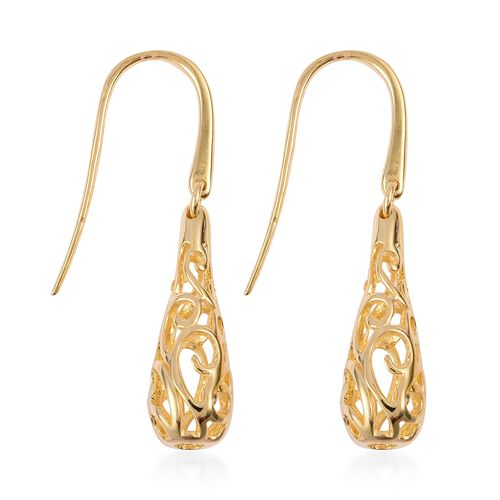 LucyQ Air Drip Hook Earrings in Yellow Gold Overlay Sterling Silver 6.07 Gms.