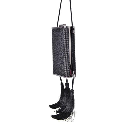 Black Austrian Crystals Embellished Velvet Clutch Bag in Black Tone with Tassels (Size 17X9.5X5 Cm)