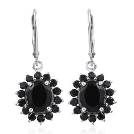 Black Tourmaline (Ovl), Boi Ploi Black Spinel Lever Back Earrings in Platinum Overlay Sterling Silver 5.250 Ct.