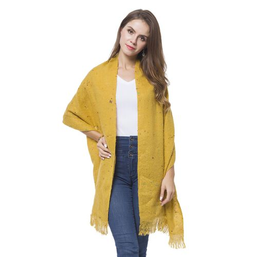 Italian Designer Inspired-Mustard Colour Knitted Scarf with Fringes (Size 196X53 Cm)