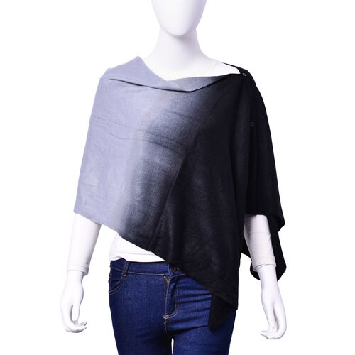 Grey and Black Colour Poncho with Button (Size 140x40 Cm)