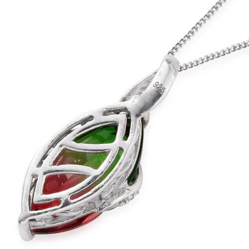 Bi-Color Tourmaline Quartz (Mrq) Solitaire Pendant With Chain in Platinum Overlay Sterling Silver 6.500 Ct.