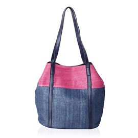 Fuchsia and Navy Colour Tote Bag (Size 45x30x29x20 Cm)