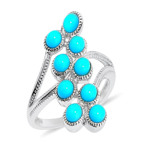 Arizona Sleeping Beauty Turquoise (Rnd) Ring in Rhodium Plated Sterling Silver 3.500 Ct.