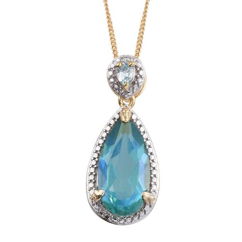 Peacock Quartz (Pear 4.75 Ct), Blue Zircon Pendant with Chain in 14K Gold Overlay Sterling Silver 5.000 Ct.