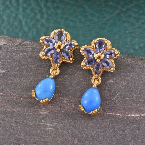 Ceruleite (Pear), Iolite Earrings (with Push Back) in 14K Gold Overlay Sterling Silver 1.680 Ct.