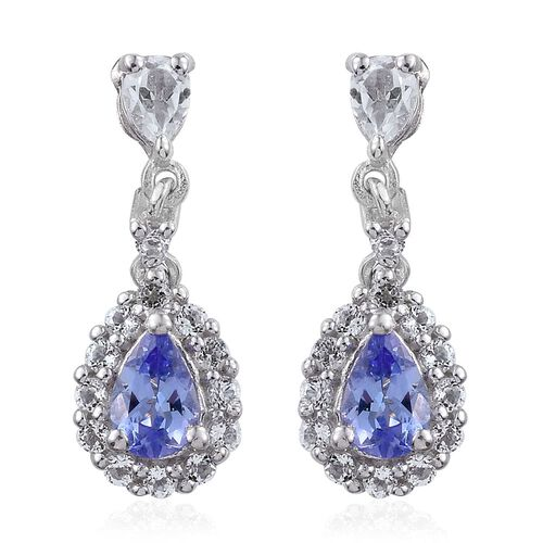 Tanzanite (Pear), White Topaz Earrings (with Push Back) in Platinum Overlay Sterling Silver 1.750 Ct.