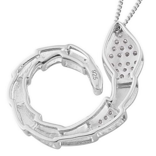 J Francis - Platinum Overlay Sterling Silver (Rnd) Snake Pendant With Chain Made with SWAROVSKI ZIRCONIA