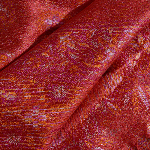 Silk Mark - 100% Super Fine Silk Flame, Golden and Multi Colour Floral Pattern Red Colour Jacquard Jamawar Scarf with Fringes (Size 180x70 Cm) (Weight 125 - 140 Gms)
