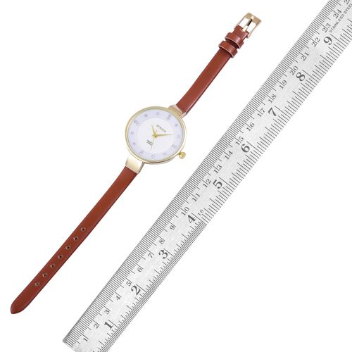 STRADA Japanese Movement White Austrian Crystal Studded White Dial Water Resistant Watch in Yellow Gold Tone with Stainless Steel Back and Chocolate Colour Strap