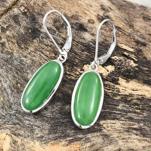 Green Jade (Ovl) Lever Back Earrings in Platinum Overlay Sterling Silver 13.000 Ct.