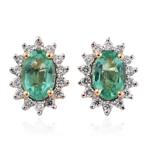 ILIANA 18K Yellow Gold AAA Boyaca Colombian Emerald (Ovl), Diamond (SI G-H) Stud Earrings 1.100 Ct.