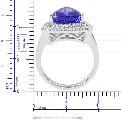 ILIANA 18K White Gold 5.50 Ct. AAAA Tanzanite Ring with Diamond (SI/G-H)