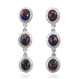 One Time Mega Deal-Mojave Purple Turquoise (Ovl) Drop Earrings in Sterling Silver 3.250 Ct. Silver wt 4.05 Gms.