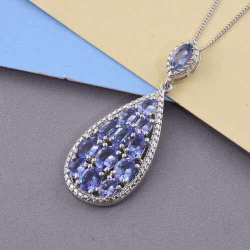 Tanzanite (Ovl) Pendant With Chain in Platinum Overlay Sterling Silver 3.000 Ct.