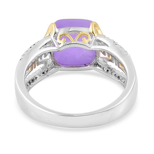 Purple Jade (Cush), White Topaz Ring in Yellow Gold Overlay and Sterling Silver 5.550 Ct.