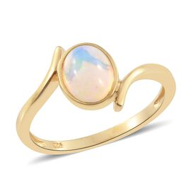 Ethiopian Welo Opal (Ovl) Solitaire Ring in Yellow Gold Vermeil Sterling Silver 1.250 Ct.