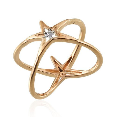 Diamond (Rnd) Criss Cross Ring in 14K Gold Overlay Sterling Silver
