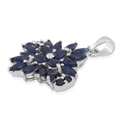 Kanchanaburi Blue Sapphire (Mrq) Cluster Pendant in Rhodium Plated Sterling Silver 3.750 Ct.