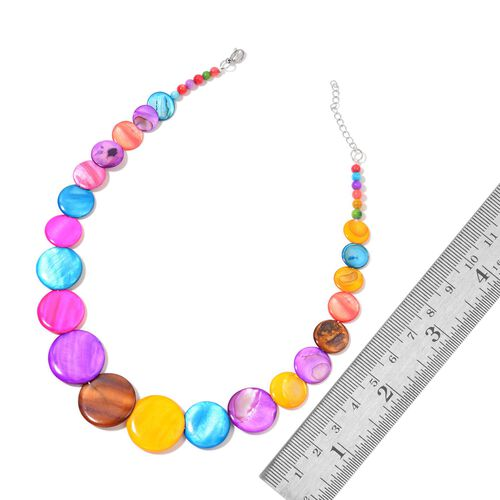 Multi Colour Shell Coin Necklace (Size 21 with Extender), Stretchable Bracelet and Hook Earrings in Stainless Steel