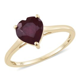 9K Yellow Gold 2.50 Ct African Ruby Solitaire Heart Ring